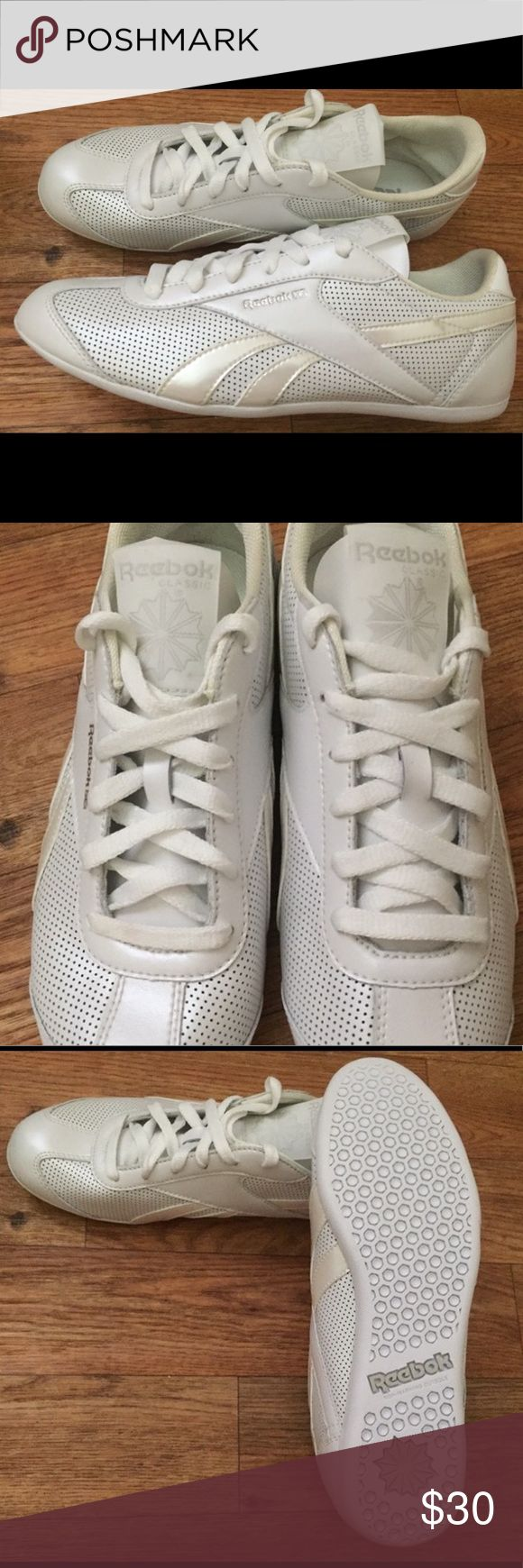 Reebok Cheer Shoes sz8 NEW NWOT women's size 8 white shoes. I believe these are cheer shoes, but I cannot find the style name on google. They come from a smoke free home and have never been worn. Reebok Shoes Athletic Shoes