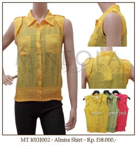 MINEOLA Almira Shirt Yellow. Also available in green and pink. Only Rp.158.000,- Bust: 96cm - Length: 60cm. Fabrics: Slub. Product code: MT10131002  #MINEOLA #myMINEOLA #iWearMINEOLA #Fashion #OnlineShop #Indonesia #Jakarta #Brand #Import #Dress #Blouse #Top #Pants #Skirt #TokoBajuOnline #BajuImport #IndonesiaOnlineShop #OnlineShopIndonesia #FashionOnlineShop