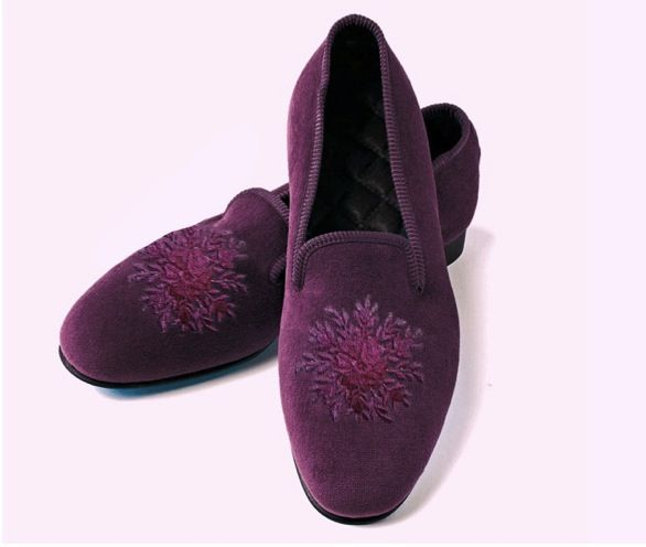 Opera slippers with discreet, nearly tone-on-tone, floral medallion in a lovely wine color.