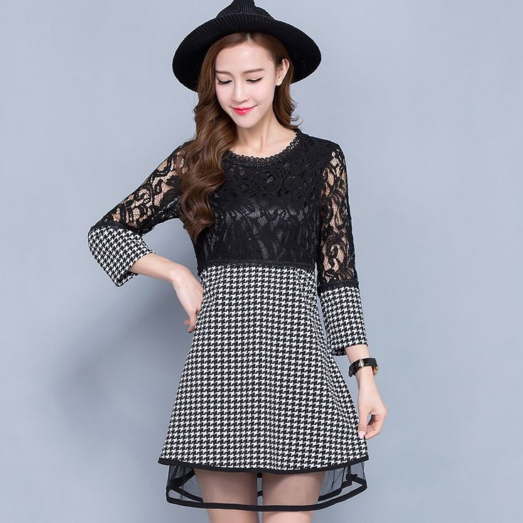 5xl plus big size women clothing dress 2016 spring autumn korean vestidos party plaid lace stitch dress female A1745