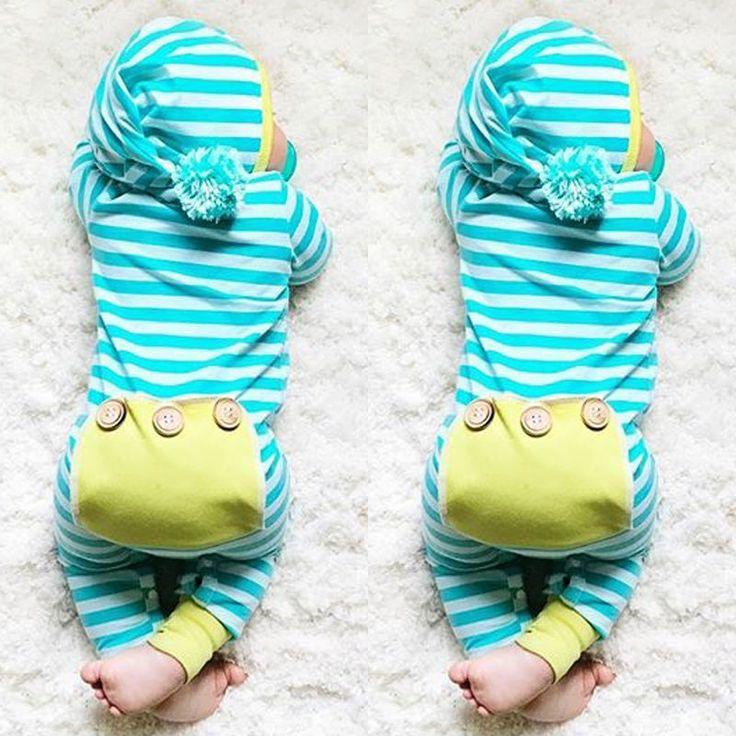 Новорожденный Мальчик Девочка Одежда Симпатичные Капюшоном Одежда Ползунки С Длинным Рукавом Полосатый Комбинезон Мальчиков Наряд #women, #men, #hats, #watches, #belts, #fashion, #style
