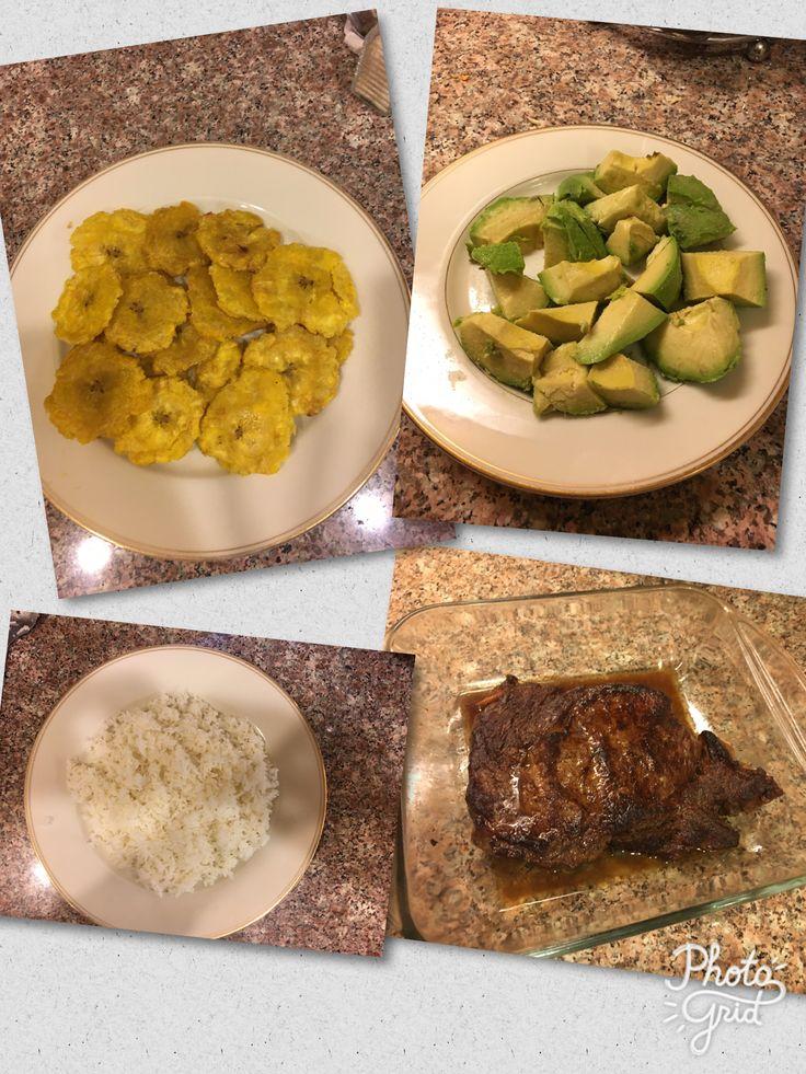 Dinner tonight : tostones, avocados, white rice and prime ribeye steak😋🍴