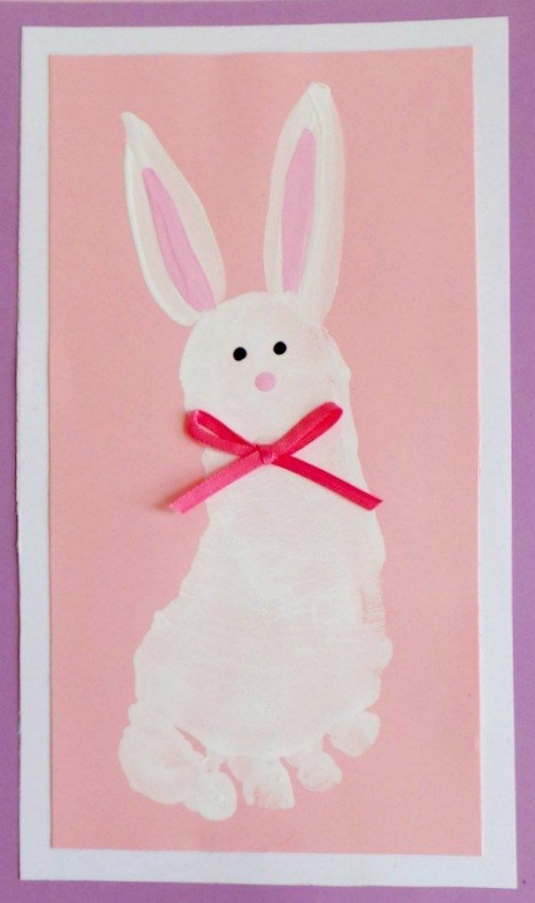 Bunny Footprint Art Easter Arts Crafts Daycare Crafts Easter