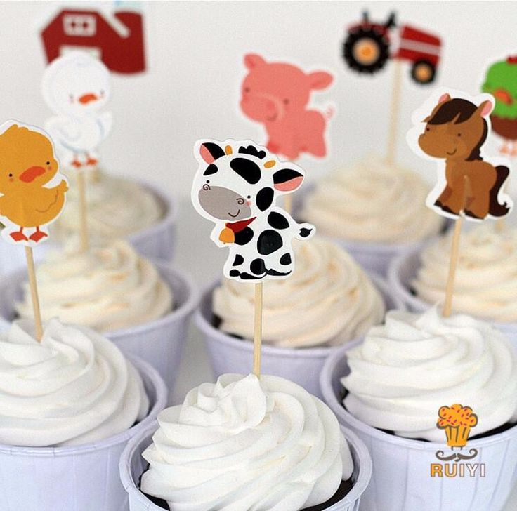 24pcs Farm Animal Theme Party Supplies Cartoon Cupcake Toppers Pick Kid Birthday Party Decorations - free shipping worldwide