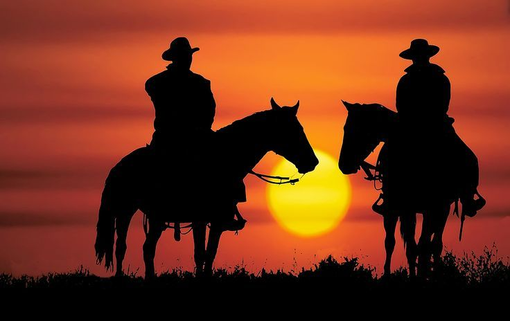 Cowboy Silhouette Cowboy Riding Off Into The Sunset