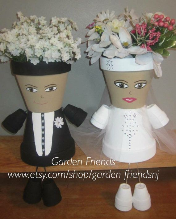 Free Ship Wedding Couple Bride & Groom Pot by GARDENFRIENDSNJ