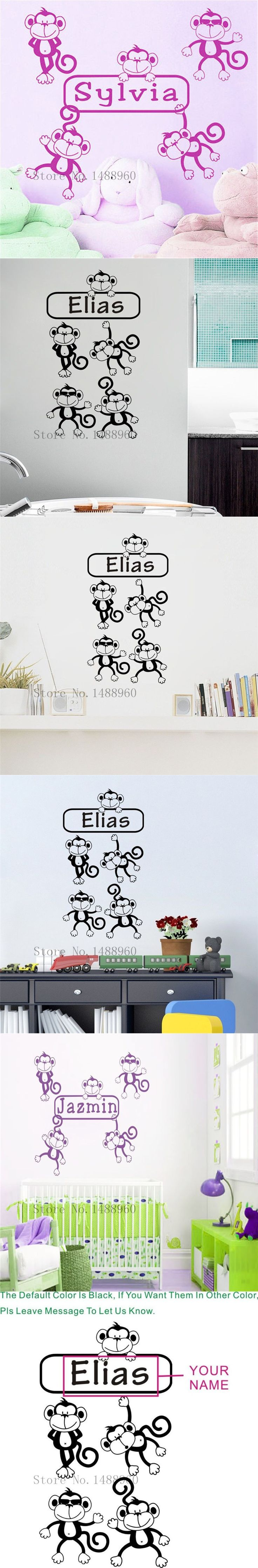 LH449 wall decal Cute monkey Bedroom DIY PVC Custom English name Creative for Kids room wall stickers home decor $9.99