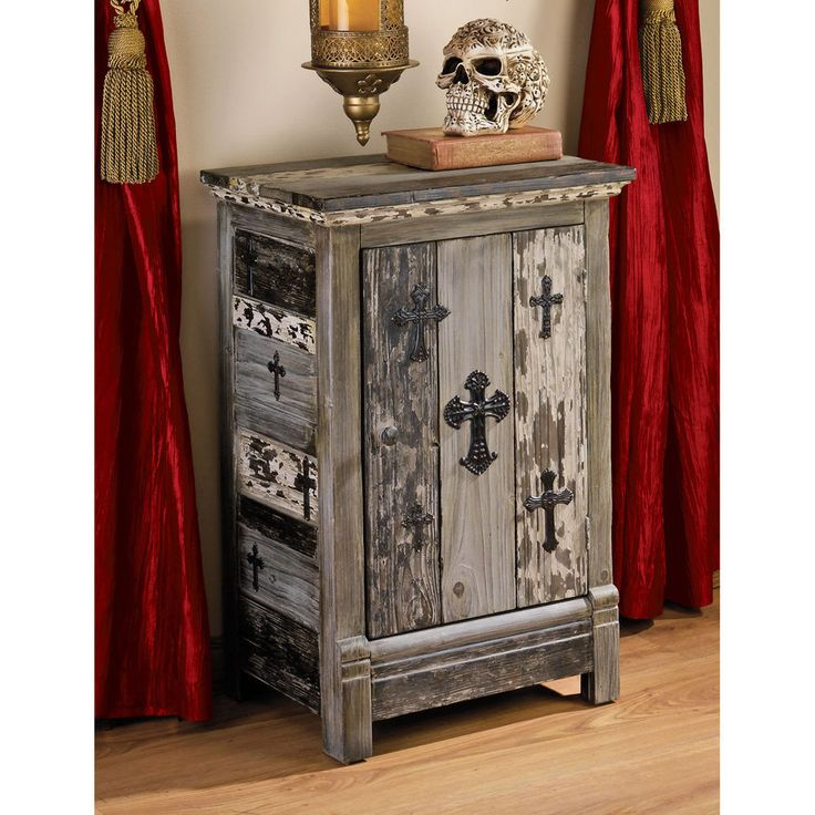 Detalles acerca de Unique Gothic Distressed Paulownia Wood Victorian Cross  Side Table Cabinet New