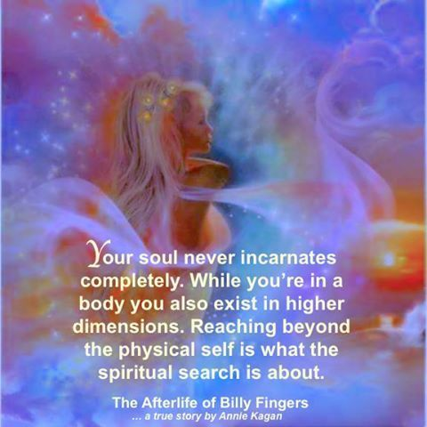 """Your soul never incarnates completely. While you're in a body you also exist in higher dimensions. Reaching beyond the physical self is what the spiritual search is about."" ~ The Afterlife of Billy Fingers"