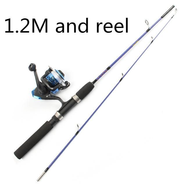 2 TIP SPINNING PORTABLE ICE FISHING ROD 1.2M/1.5M ROD AND FISHING REEL AND LINE FISHING SUIT COMBINATION