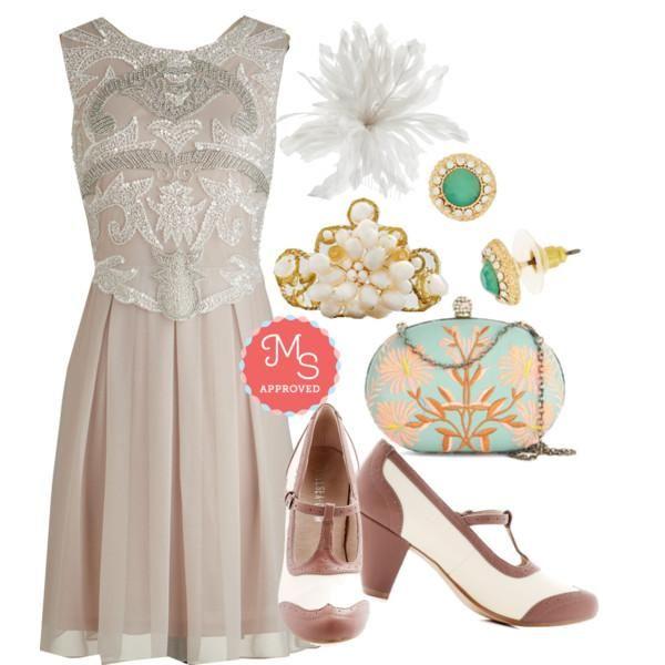 Ornate Entrance Dress, Gallery Opener Heel in Rose, Garden Grandeur Clutch, Let's Be Regal Earrings, Swirls of Pearls Bracelet, Delicate Delights Hair Comb
