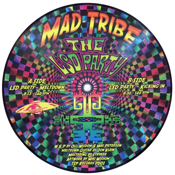 """The LSD Party 12"""" picture disc : Mad Tribe Limited edition picture disc release of only 300 pieces.  Released October 31, 2016 on TIP Music  Each record comes in a transparent sleeve with a holographic laminated & printed version of the artwork on card, & a download code where you can get the songs in hi-quality digital format. All records are sent from the UK & shipping is included"""