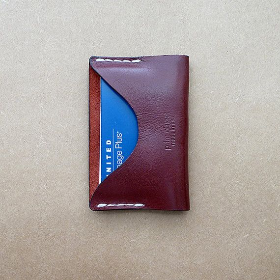 Handmade Leather Card Holder | Prim Object Leather Craft designs and handmade minimalist leather wallets for men and women. Made in USA.