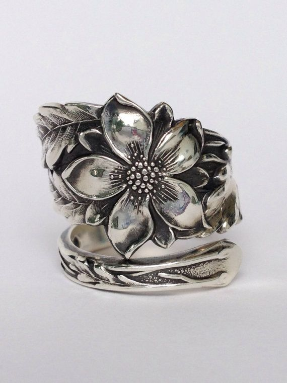 Vintage Columbine Flower Sterling Silver Spoon Ring on Etsy