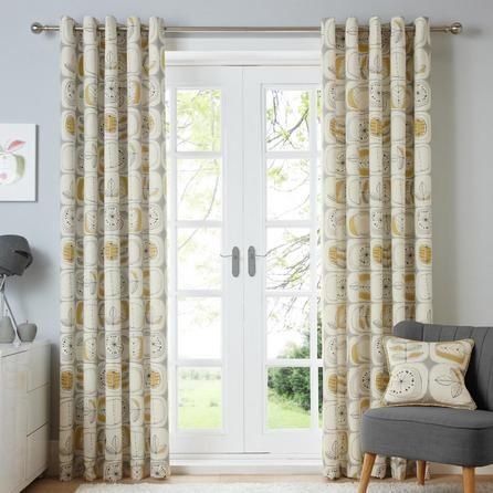 Dunelm Contemporary Draughts White and Ochre Yellow Modern Nature Lined Eyelet Curtains
