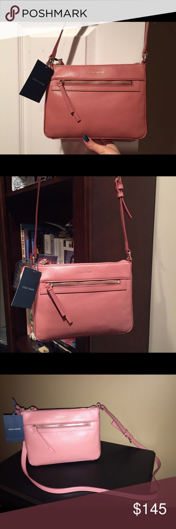Cole Haan purse -- pretty pink! Perfect purse for the spring. Cole Haan cross body Rose color Cole Haan Bags Crossbody Bags