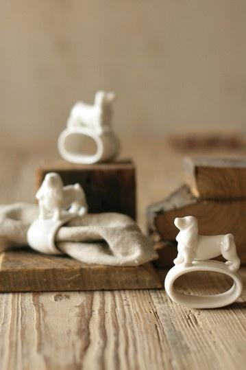 Porcelain Dog Napkin Rings