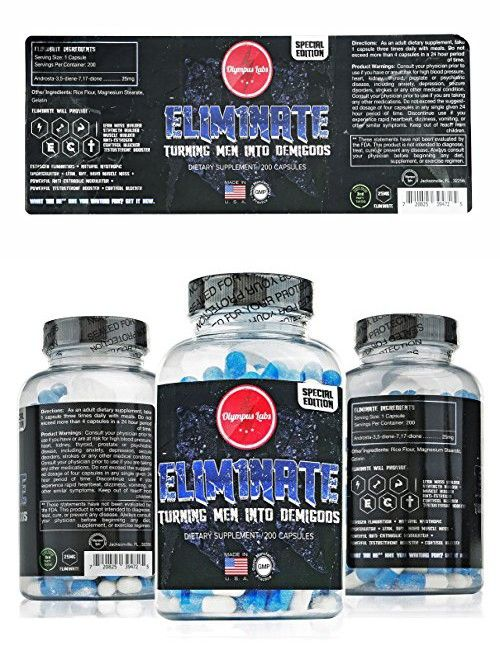 Olympus Labs ELIMINATE 200 Count Muscle Building Supplement: 100% Natural Energy Booster For Fast Muscle Building/ Estrogen Blocker Aromatase Inhibitor Pills Supports Stamina In Athletes & Busy Men