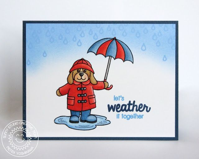 Sunny Studio Stamps Rain or Shine Let's Weather It Together Spring Card