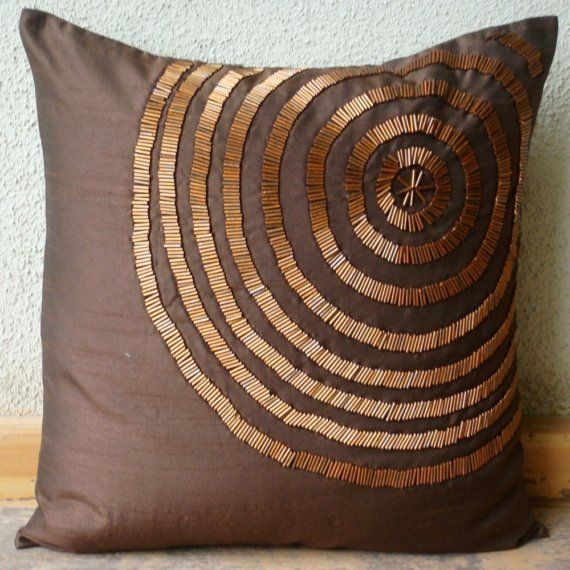 Silk Pillow Cover with Bead Embroidery.