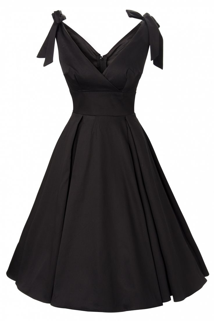 Pinup Couture - 50s Tie Me Up dress in Black sateen Deadly Dames