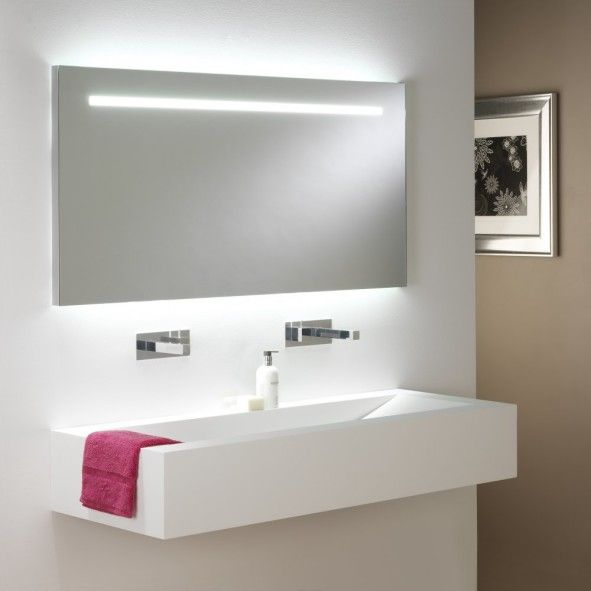 decoration: Personable White Interior Design Idea For Minimalist Bathroom Using Floating Sink And Frameless Mirror With Led Lights - Cool and Energy-Efficient Bathroom LED Lights Adding More Visual Interest, Luxury Busla: Home Decorating Ideas and Interior Design