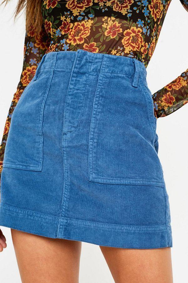 841eca9033 Slide View: 3: BDG Blue Corduroy Carpenter Skirt Carpenter, Denim Skirt,  Sweater
