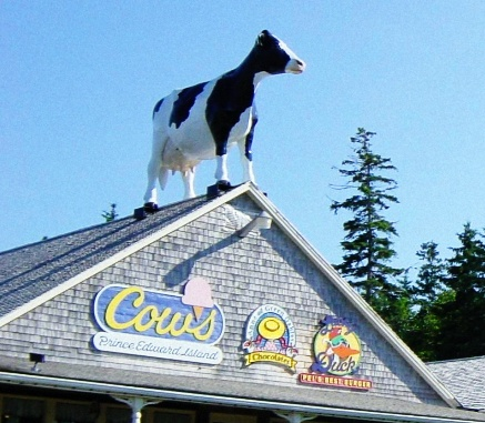 Cows ice cream, Anne of Green Gables Chocolates and Lucky Duck Burgers on the Cavendish boardwalk, Cavendish, PEI