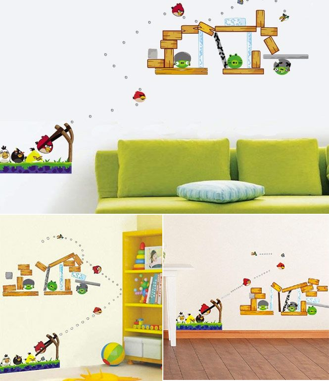Angry birds wall decals removable diy wall stickers art for Angry bird decoration ideas