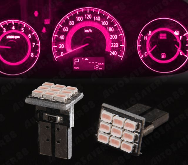 4 Pcs Fashion Pink T10 Wedge 9SMD Dashboard Instrument Panel Light W5W 158 192 | eBay