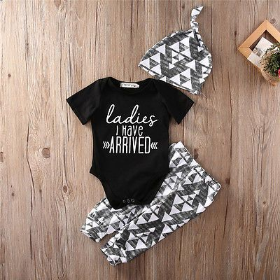 Ladies I Have Arrived Newborn Baby Boy Romper Top Pants Leggings Hat Outfits Set Clothes Short. Click visit to buy #BabyBoyClothingSets
