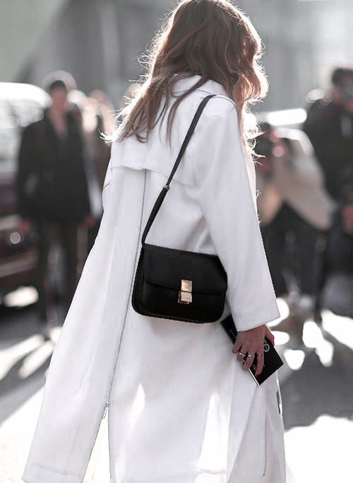 white trench coat & black Celine bag #style #fashion #streetstyle