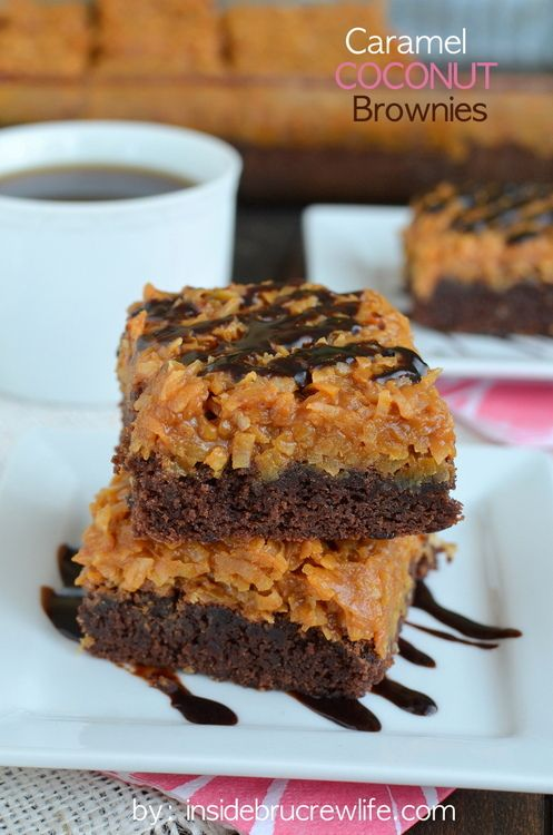 Caramel Coconut Brownies - homemade brownies with a delicious caramel coconut topping