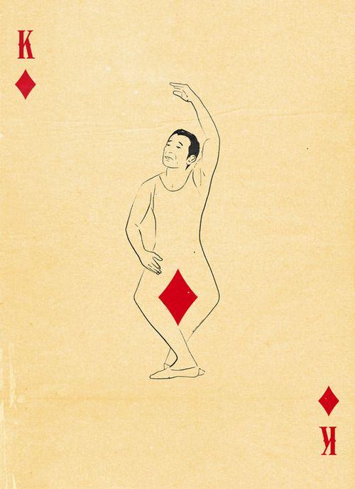 king of diamonds dancer playing card illustration by Patrik Svensson