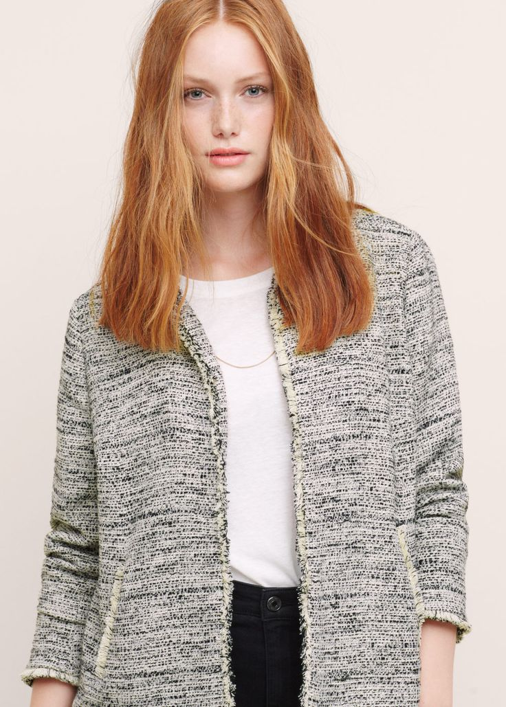 Giacca tweed bicolore - Giacche Taglie grandi | Violeta by MANGO Italia