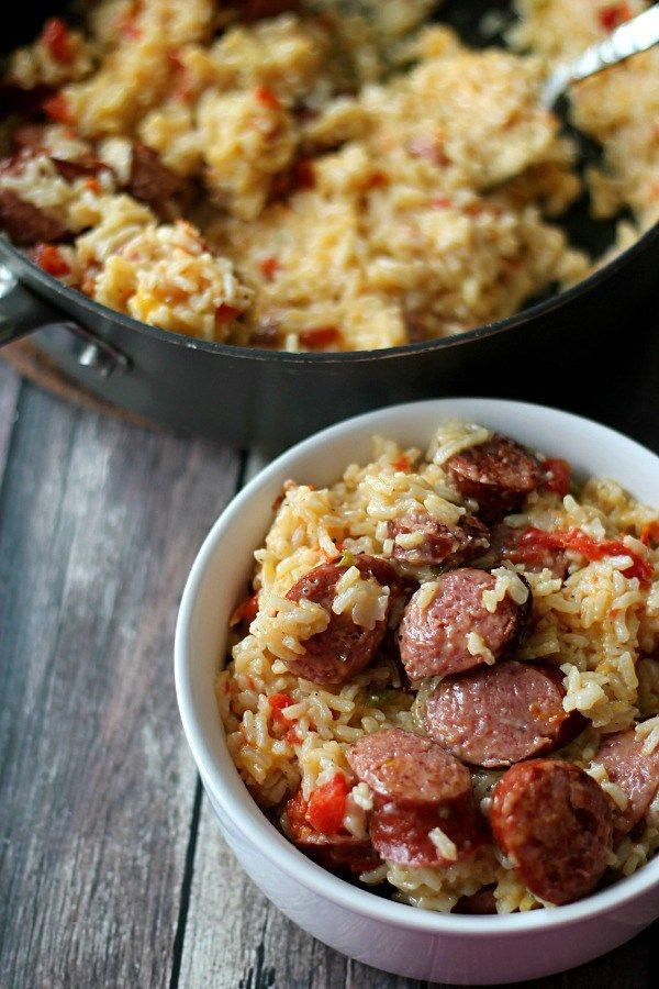 This One Skillet Cheesy Sausage & Rice dish is delicious made with Hillshire Farm Sausage!  #CreateYouDeliciousSkillet #ad