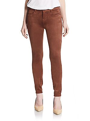 "Kensie Jeans Faux Suede Skinny Pants 0400088999656 in Deep Camel *-Buttery faux suede skinnies with classic finish -Top button closure -Zip fly -Five-pocket style -Logo patch detail on back pocket -Paneled construction -Rise: about 9"" -Inseam: about 30"" -Polyester/spandex"