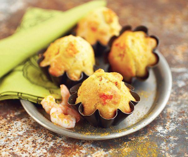 Madeleines aux crevettes et au curry