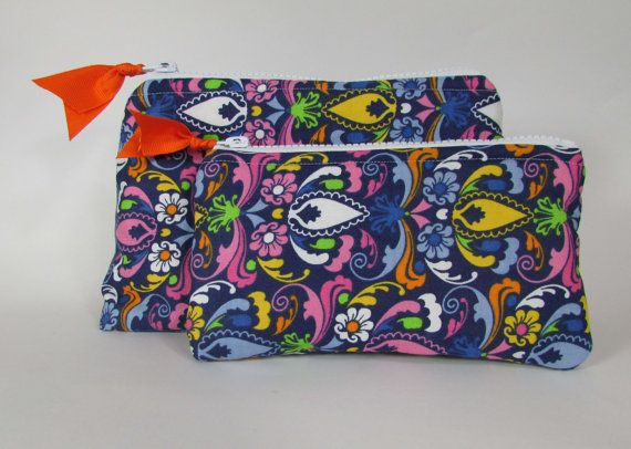 Cosmetic Bag Set of Two Bright Multicolor Handmade Makeup Bag Toiletry Bag Zipper Pouch Cosmetic Case