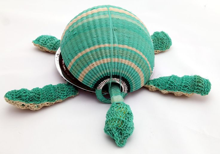 Recycled art - turtle made from unravelled ghost net and recycled objects