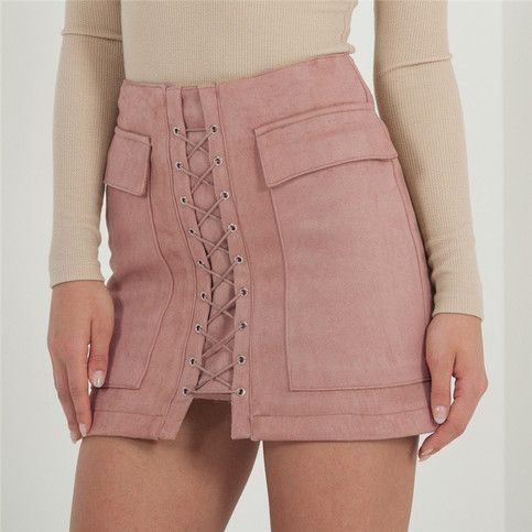 In pink Lift+your+look+and+get+peachy+in+this+skirt!+With+its+light+rose+hue,+on+trend+lace+up,+two+pockets+to+the+front+and+a+peached+fabric,+you'll+be+looking+dreamy!+Team+with+a+white+bodysuit+and+lace+up+heels+for+a+babin'+evening+glow.  High+quality+Suede-Effect+Fabric,+thick+for+autumn,+soft+and+sl...