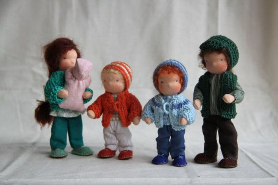 dollhouse family Waldorf style Family of five custom by ElineDolls