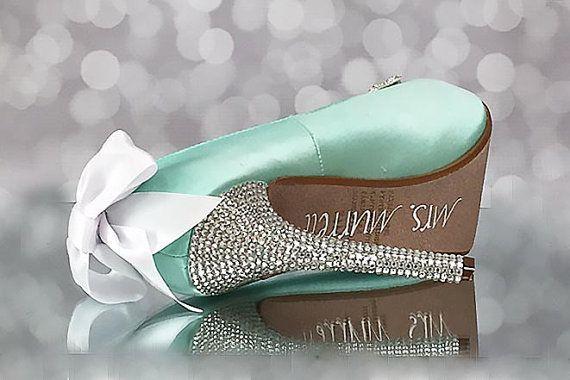 Aqua Blue Wedding Shoes / Blue Bridal by EllieWrenWeddingShoe