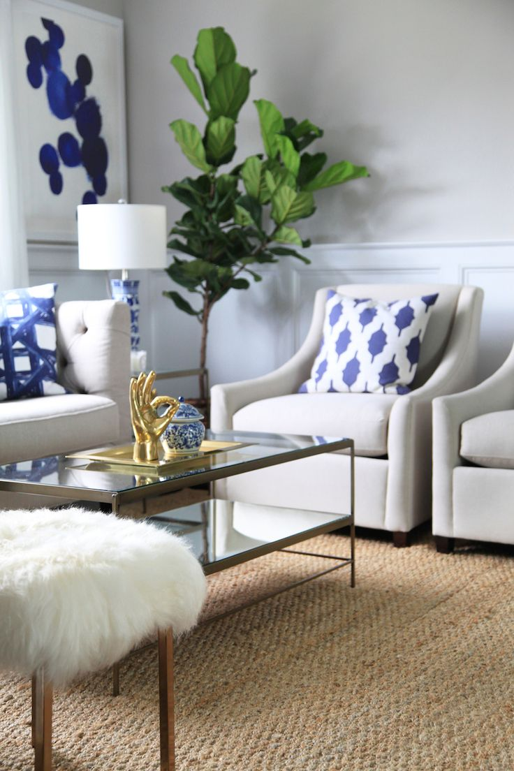 Formal living room lemon stripes