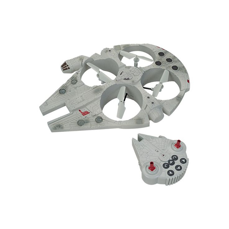 Star Wars Millennium Falcon Drone - The Millennium Falcon is produced based on digital data from Star Wars: The Force Awakens. It includes a full function remote with dual joysticks and 6 trim buttons plus a special FLIP button for easy maneuverability and impressive stunts.