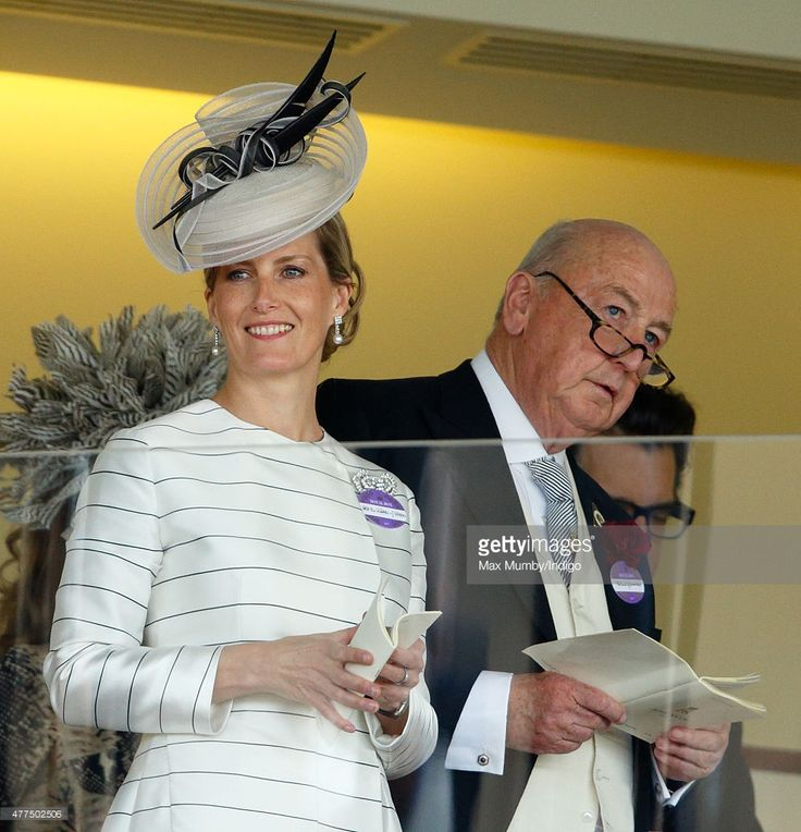 Sophie, Countess of Wessex and Peregrine Cavendish, Duke of Devonshire watch the racing as they attend day 2 of Royal Ascot at Ascot Racecourse on June 17, 2015 in Ascot, England.