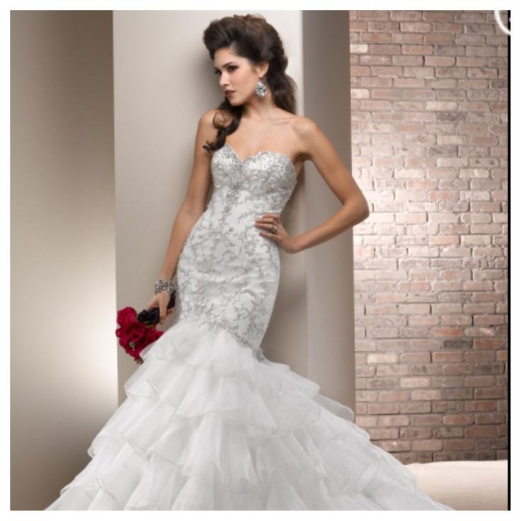 Mermaid bling bodice ruffled bottom wedding dresses for Wedding dress with ruffles on bottom