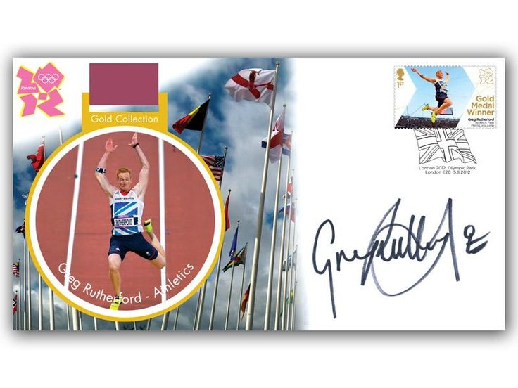 London 2012 Olympic Gold Medal Winners cover. Personally Autographed by Greg Rutherford. Long Jump