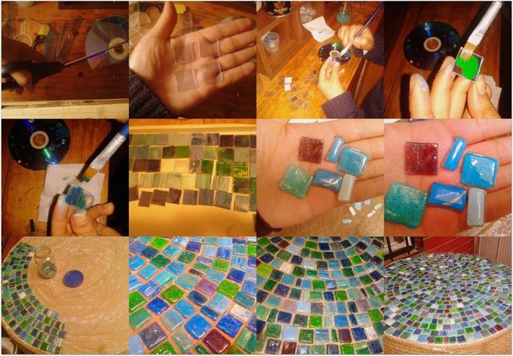 Aqui, como hago mis teselas de CD reciclado... harto trabajo pero vale la pena... hermosos colores y diseños unicos para hacer hermosos trabajos...