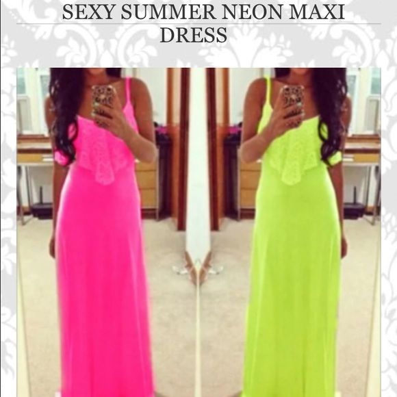 Neon maxi dress Long neon maxi dress (never worn) Dresses Maxi